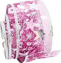 scrox Weihnachtsbaum/Hochzeit/Party Dekoration Bänder Spitze Printing Blumen Band für Christmas Day Hochzeit Party 200x 6,3cm, Polyester, violett, 6.3cm*2meter