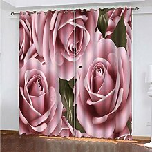 SDALD Vorhang Blickdicht Ösenschal Rosa