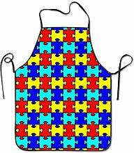 sdfgsdhffer Autism Puzzle Pattern Aprons Bib Adult