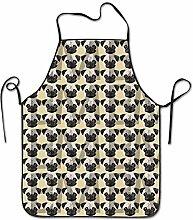 sdfgsdhffer Pug Pattern Aprons Bib Adult Lace