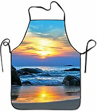 sdfgsdhffer Sea Ocean Beach Sunrise Aprons Bib