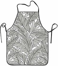 sdfgsdhffer Tropical Hosta Leaves Sketch Aprons