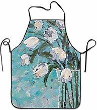 sdfgsdhffer Tulip Floral Art Aprons Bib Unisex