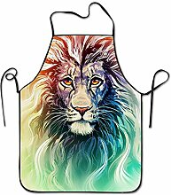 sdfgsdhffer Watercolor Lion Art Aprons Bib Unisex