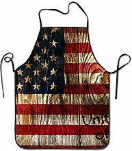 sdfgsdhffer Wood American Flag Aprons Bib Unisex