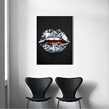 SDFSD Kreative Lippen Rose Blume Diamant Dollar