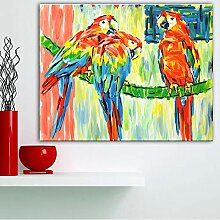 SDFSD Kreative Papagei schwere Farbe Ölgemälde