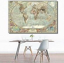 SDFSD Vintage HD Weltkarte Nationalflagge Erde