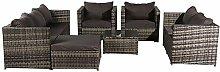 SDFSX 8-Sitzer Rattan-Möbel, Outdoor-Sofa mit