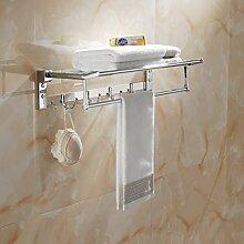 SDKIR-Edelstahl gefaltet Handtuchhalter Badezimmer Regal Handtuchhalter Badezimmer Hardware Zubehör Se