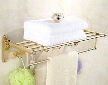 SDKIR-Golden Aluminium Handtuchhalter Raumfahrt gefaltet Handtuchhalter Badezimmer Regal, Golden