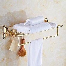 SDKIR-Klappbare vergoldete Handtuchhalter multifunktions Badezimmer Handtuchhalter Badezimmer Handtuchhalter