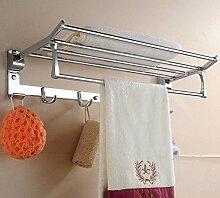 SDKIR-Platz Aluminium Handtuchhalter Badezimmer Handtuchhalter Badezimmer mit doppelter Breite - dicken Aluminiumplatte mit Rod Racks, F