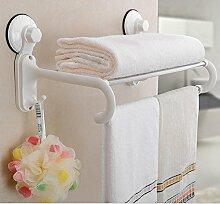 SDKIR-Sauger-Doppel Handtuchhalter Badezimmer Handtuchhalter Badezimmer Regal an der Wand von Nail Bohrungen frei Berg