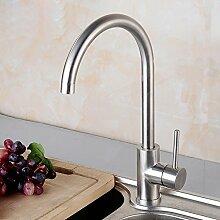 SDKIR-Spüle Wasserhahn Waschtisch Armatur mit heißen und kalten bleifreie Waschbecken Wasserhahn aus gebürstetem Edelstahl 304 schwenken, Big Bend