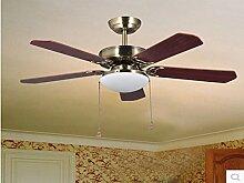 SDKKY 42 - zoll - restaurant deckenventilator lichter, 6010 europäischen retro - ventilator lampe mit der lampe einfachen leaf deckenventilator führte fan - lampe