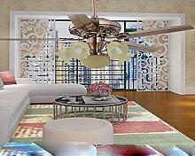 SDKKY 48 zentimeter 1260mm alten roten led - blatt deckenventilator, lampe led, fan - lampe, decke ventilator