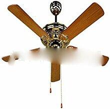 SDKKY 52 - zoll - dekorativen deckenventilator, 5 stück holz, getreide - fan, zu hause retro - ventilator lampe