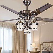 SDKKY Amerikanisches Wohnzimmer Ventilator Kronleuchter, europäischen Stil retro Schlafzimmer Restaurant, Bügeleisen minimalistischen Deckenventilator, energiesparende Deckenventilator Lampe