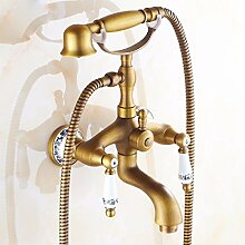 SDKKY Antike Badewanne Armatur im europäischen Stil mit Dusche, Einzelzimmer Dusche, W