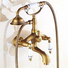 SDKKY Antike Badewanne Armatur im europäischen Stil mit Dusche, einem Duschkopf, E