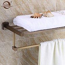 SDKKY Antike Kupfer Messing Handtuchhalter bad accessoires badezimmer Zubehör Western Style Doppel Handtuchhalter Regal 600*228*60mm , 60cm [konventionelle]