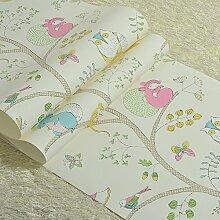 SDKKY Britische Kinderzimmer Tapete cartoon Eule Prinzessin Zimmer Schlafzimmer den Vlies Tapete, 3 Dekorative Wandpapier