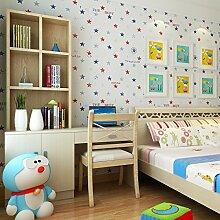 SDKKY Britischen Stil Kinderzimmer vliestapeten Sterne Schlafzimmer Studie einfache Streifen Tapete, 1. Dekorative Wandpapier