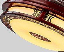 SDKKY Chinese Mahagoni Retro Invisible Deckenleuchte, Wohnzimmer Restaurant Schlafzimmer feste Holz-Ventilator Lampe, LED-Lüfter Kronleuchter, Dimmen Fernbedienung