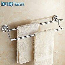 SDKKY Continental Messing antik Doppel Handtuchhalter bad accessoires badezimmer Handtuchhalter aus Gold Badezimmer Handtuchhalter 630*100*150mm, Silber