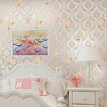 SDKKY Damaskus Landschaft nonwoven Schlafzimmer Wohnzimmer Stil Tapete, Primel Gelb, 0,53 m * 10 m Dekorative Wandpapier