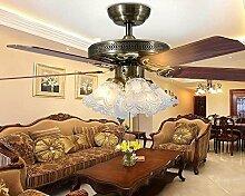 SDKKY deckenventilator, licht - blatt, europäischen stil antiker restaurant, lampe, deckenventilator, ventilator, lampe, moderne einfach wohnzimmer dekorative kronleuchter - fan,das blatt ziehen sie leine