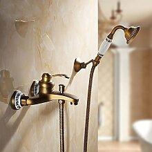 SDKKY Die Europäische Antike Bronze Kupfer blaue und weiße Porzellan Bad Badewanne Armatur Dusche mit heißem und kaltem Wasser