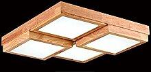 SDKKY Die Massivholz Eiche LED Deckenleuchte, 4 Leiter