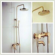 SDKKY-Drei antike gebürstet Antik Kupfer Apple Größe Dusche-Sets, Dusche Kupfer Körper, Korrosion Widerstand wassersparende Armatur Dusche