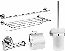 SDKKY edelstahl - bad accessoires fünf sets, doppelte handtuchhalter, handtuchhalter, kleidung, kleiderbügel, toilettenpapier rack, die klobürste setzen