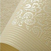 SDKKY Einfache Vliestapeten Schlafzimmer Wohnzimmer moderne Beflockung Dekoration Tapete, Kaffee, 0,53 m * 10 m Dekorative Wandpapier