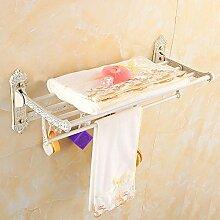 SDKKY Europäische falten Handtuchhalter Handtuchhalter weiß Metall bad accessoires badezimmer WC-Papierhalter wc-bürste Föhn Rack handtuchring Handtuchhalter Seifenschale, ein