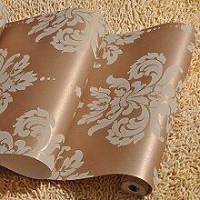 SDKKY Europäische geprägte Stil Schlafzimmer Wohnzimmer Tapete, champagner, 53 * 1000 Dekorative Wandpapier