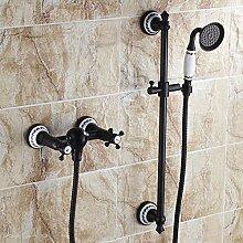 SDKKY Europäische Kupfer antik schwarz blau und weiß Porzellan Bad Badewanne Armatur Dusche mit heißem und kaltem Wasser