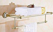 SDKKY Europäische Vakuum Zirkonium kupfer-gold bad accessoires badezimmer Handtuchhalter, blau-weiße Keramik Handtuchhalter 600*265mm