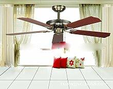 SDKKY europäischen stil dekorative deckenventilator lampe, luxus - fan lampe, ventilator, der ventilator,rote bronze