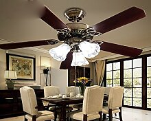 SDKKY fan - fan entfernten restaurant kronleuchter, wohnzimmer - lampe retro - blätter, drei kopf lampe, decke ventilator,fernbedienung
