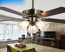 SDKKY fan - fan entfernten restaurant kronleuchter, wohnzimmer - lampe retro - blätter, drei kopf lampe, decke ventilator,hand