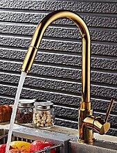 SDKKY Golden saugen Hahn, drehbare Küche Wasserhahn, Spüle, Geschirrspülmaschine, Waschbecken, Warm- und Kaltwasser Armatur