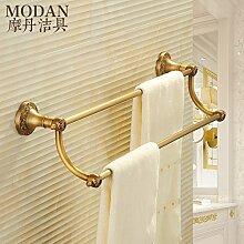 SDKKY Handtuchhalter 1 Kupfer lange Handtuchhalter im europäischen Stil mit Bad- Accessoires Bad Regale Badezimmer Handtuchhalter 600*80*160mm