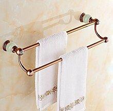 SDKKY Jade Bad-accessoires Handtuchhalter, Handtuchhalter aus massivem Messing, Rose Gold, Marmor Badezimmer Handtuchhalter, diamond keramische Beschichtung, helle, grüne Jade