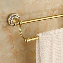 SDKKY Messing verchromter Handtuchhalter, Handtuchhalter im Europäischen Stil, blaue und weiße Porzellan gold accessoires badezimmer, doppel Stange gold 60 cm