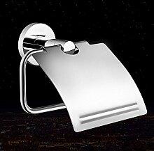SDKKY-Moderne Toilettenpapierhalter mit Deckel, Papierhalter Messing, Chrom Papierrollenhalter Bad Hardware-Bad-Accessoires