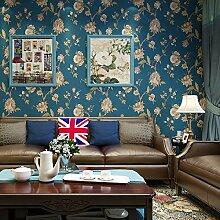 SDKKY Nostalgische amerikanische Wallpaper pure Garten grosse vintage Schlafzimmer Wohnzimmer TV Hintergrund Tapete Tapeten, 1. Dekorative Wandpapier